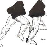 ie sind immer in Bewegung - Zeichnung von Susanne Haun - Sepia auf Bütten - 22 x 17 cm
