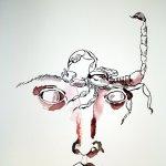 Entstehung Skorpionfrau - Zeichnung von Susanne Haun - 76 x 56 cm