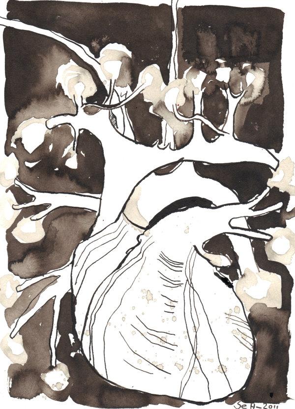 Das Licht im Herz - Zeichnung von Susanne Haun - Sepia auf Bütten - 22 x 17 cm
