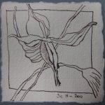 Blüte 3 - Zeichnung von Susanne Haun - Tusche auf Bütten - 10 x 10 cm