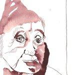 Liebe Wichteloma- Zeichnung von Susanne Haun - Tusche auf Burgund Bütten - 22 x 17 cm