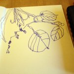 Blätter mit dem Schreibfüller - Skizze von Susanne Haun