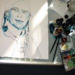 Ich verweile, schaue und überlege das Portrait an - Zeichnung von Susanne Haun