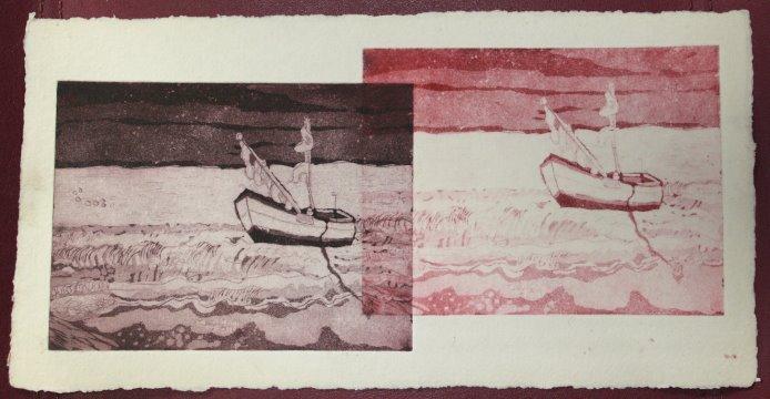 In der Ferne - Radierung von Susanne Haun - Aquatinta, 3 Platten, 2011, Unikatdruck , 20 x 15 cm