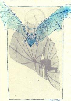 Fledermaus 2 - Überzeichnung von Susanne Haun - Tusche auf Bütten 30 x 20 cm