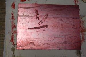 """2. Zinkplatte """"In der Ferne"""" rot gewischt von Susanne Haun"""