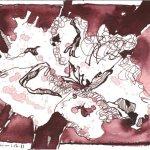 Baumwolle II - Zeichnung von Susanne Haun - Tusche auf Hahnemühle Burgund - 12 x 17 cm