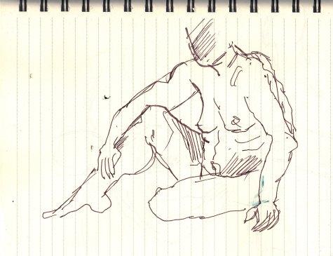 Position 2: sitzender Akt - Version 1 - Skizze von Susanne Haun