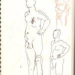 Position 3: stehender Akt - Version 1 - Skizze von Susanne Haun