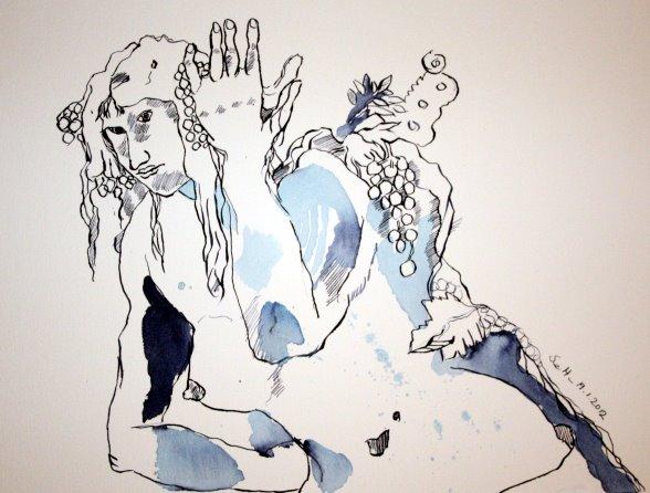 Säulenträgerin Version 1 - Zeichnung von Susanne Haun - Tusche auf Bütten - 30 x 40 cm