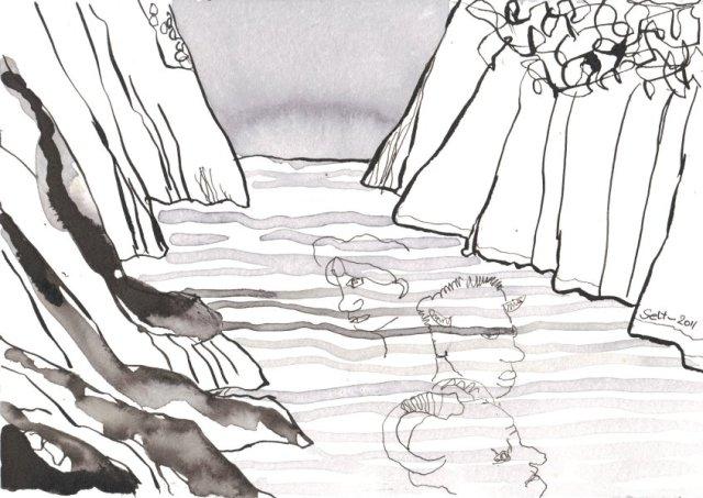 Mit den Dämonen auf Felsen genächtigt habe - Zeichnugn von Susanne Haun - Tusche auf Burgund Bütten - 17 x 22 cm