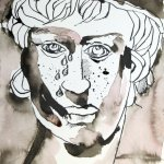 Steinerne Träne Version 2 - Zeichnung von Susanne Haun - 22 x 17 cm - Sepia auf Burgung Aquarellpapier