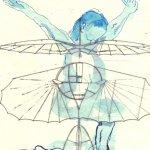 Schweben wie beim Tanzen - Version 3 - ÜberZeichnung von Susanne Haun - Tusche auf Bütten - 40 x 30 cm