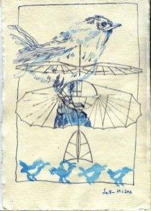 Zaunkönig 1 - ÜberZeichnung von Susanne Haun - 30 x 20 cm - Tusche auf Bütten