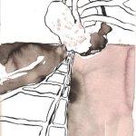 Zum kalten Felsboden - Zeichnung von Susanne Haun - Tusche auf Burgund Bütten - 17 x 22 cm