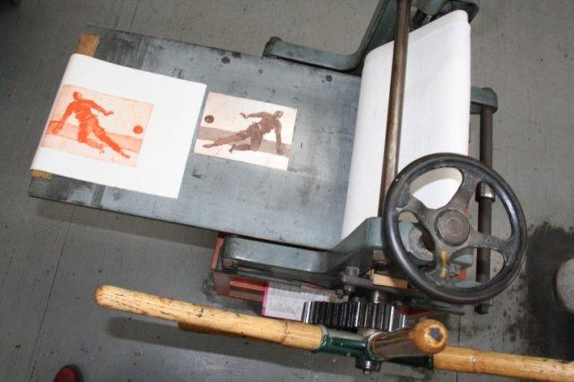 Druck Fussballer rot (c) Foto von Radierungen von Susanne Haun