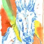 Kolorierter Esel Version 4 (c) Radierung von Susanne Haun
