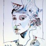 Sternzeichen Wassermann 40 x 30 cm Tusche und Polychromos auf Burgund Bütten (c) Zeichnung von Susanne Haun