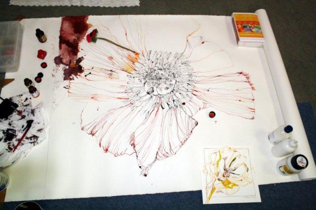 Zwischenstand rote Blume (Zinnie) 16.2.2012 - Zeichnung von Susanne Haun