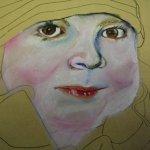 1 Merles Mund entsteht auf Hahnemühle Kraftpapier (c) Pastell von Susanne Haun