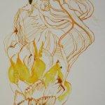 Knospe GELB Version I (c) Detail Zeichnung von Susanne Haun