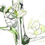 Erstes Grün - Tusche auf Bütten - 17 x 22 cm - Version 3 (c) Zeichnung von Susanne Haun
