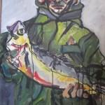 Fischer 80 x 60 cm Tusche und Acryl auf Leinwand (c) Susanne Haun