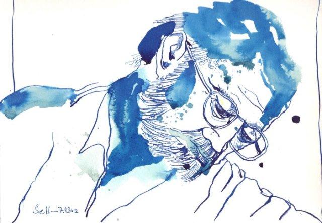 Mein Sinnbild vom schreibenden Hemingway (c) Zeichnung von Susanne Haun