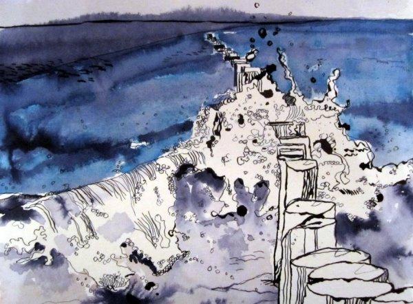 Ostsee 2010 22 x 34 cm verkauft (c) Zeichnung von Susanne Haun
