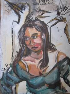Im Möwengeschrei 70 x 50 cm Tusche und Acryl auf Leinwand (c) Susanne Haun