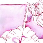 Mandelblütenknospe 17 x 22 cm (c) Zeichnung von Susanne Haun
