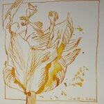 Tulpe 15 x 15 cm Tusche auf Bütten (c) Zeichnung von Susanne Haun