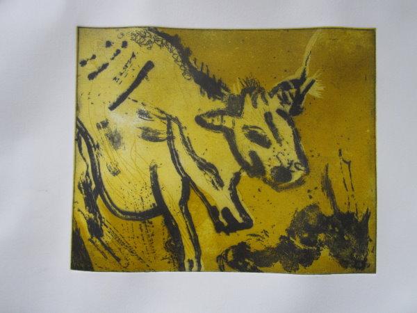 Kuh gelb 20 x 25 cm Aquatinta 2 Platten(c) Radierung von Susanne Haun