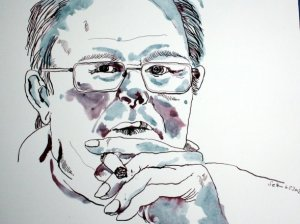 Papa mit Zigarre (c) Zeichnung von Susanne Haun