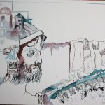 Hektor, Priamos und Troja 30 x 40 cm Tusche auf Bütten (c) - Zeichnung von Susanne Haun