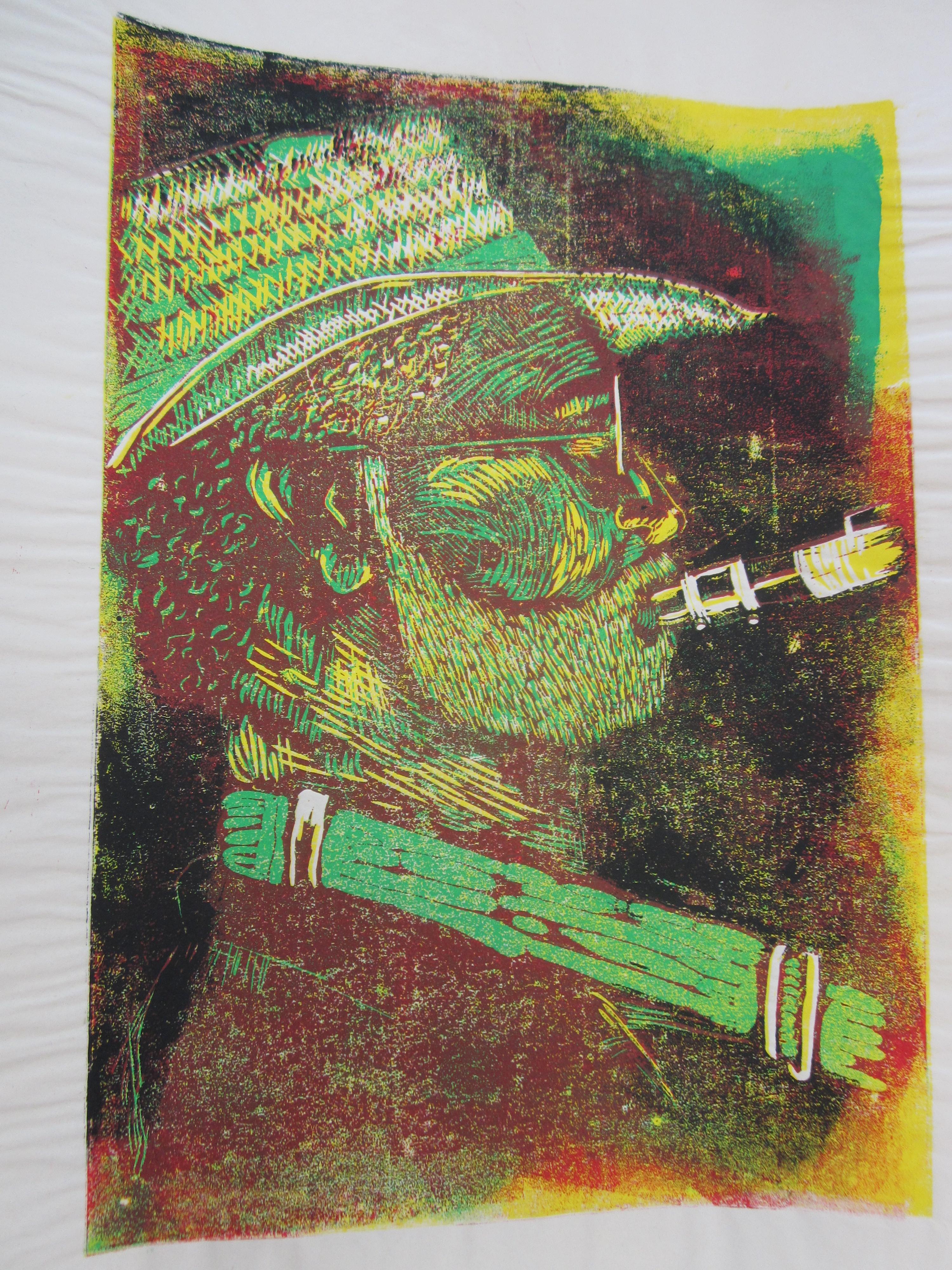 1999 Saxophonist, Linolschnitt 30 x 20 cm nach dem Prinzip der verlorenen Form Auflage 25 (c) Susanne Haun (2)