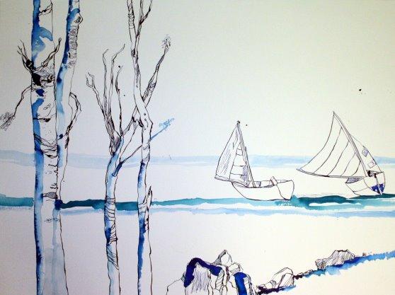 Details zu Empfindungen zur Ostsee 60 x 80 cm Tusche auf Bütten (c) Zeichnung von Susanne Haun