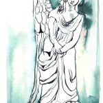 Engel mit einem Flügel 22 x 17 cm Tusche auf Bütten (c) Zeichnung von Susanne Haun