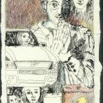 Fahr bitte fahr, 20 x 15 cm, Rapidograph und Buntstift auf Bütten (c) Zeichnung von Susanne Haun