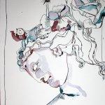 Entstehung Helena von Troja 30 x 40 cm Tusche auf Bütten (c) Zeichnung von Susanne Haun