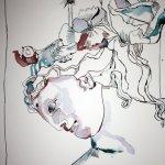Helena von Troja 30 x 40 cm Tusche auf Bütten (c) Zeichnung von Susanne Haun