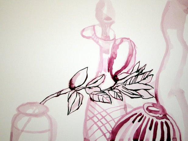 Stillleben 22 x 34 cm Tusche auf Bütten (c) Zeichnung von Susanne Haun