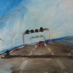 Voarbeit zu Auf der Autobahn 2006 Acryl auf Papier 30 x 40 cm cm (c) Susanne Hann