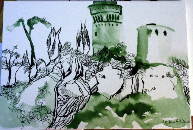 Brisighella 17 x 22 cm Tusche auf Bütten (c) Zeichnung von Susanne Haun