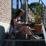Sitzen kann Angelika überall (c) Foto von Susanne Haun