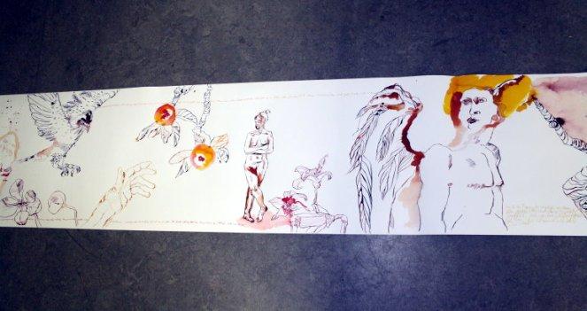Ausschnitt der 10 Meter langen Rolle (c) Zeichnung von Susanne Haun