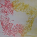 Ein Probedruck vom Blütenkranz (c) Radierung von Susanne Haun