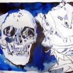 Stilleben blaues Gewölbe 30 x 40 cm Tusche auf Bütten (c) Zeichnung von Susanne Haun