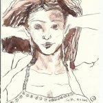 Der Nachgedanke Version 1 Tusche auf Bütten 20 x 15 cm (c) Zeichnung von Susanne Haun