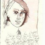 Der Nachgedanke Version 2 Tusche auf Bütten 20 x 15 cm (c) Zeichnung von Susanne Haun